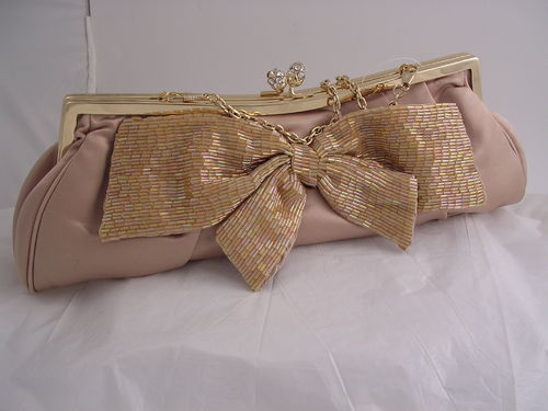 Sequin Bow Satin Evening Clutch