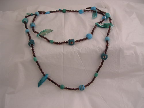 Teal Beads & Shells Necklace
